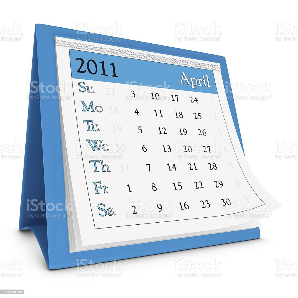 April 2011 - Calendar series royalty-free stock photo