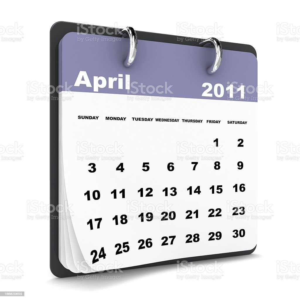 April 2011 - Calendar series royalty-free stock photo
