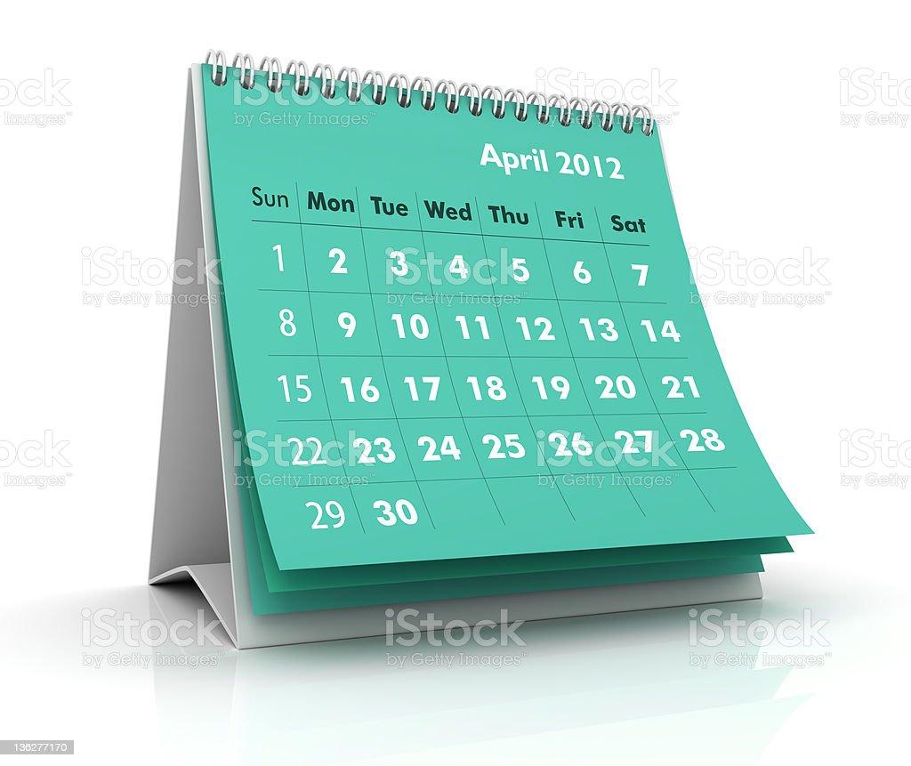 April 2012. Calendar royalty-free stock photo