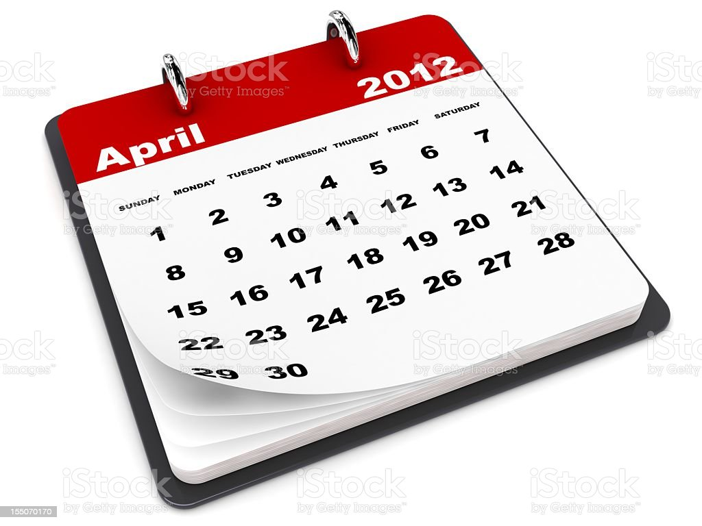 April 2012 Calendar royalty-free stock photo