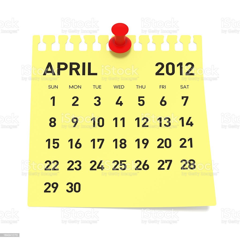 April 2012 - Calendar royalty-free stock photo