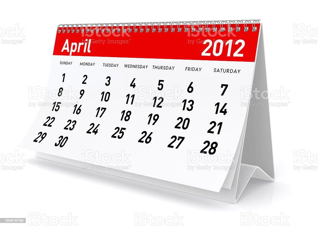 April 2012 - Calendar royalty-free stock photo