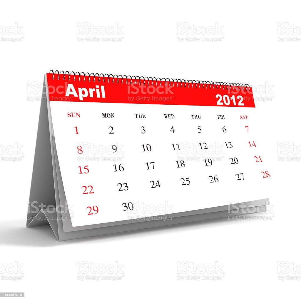April 2012 - Calendar series royalty-free stock photo