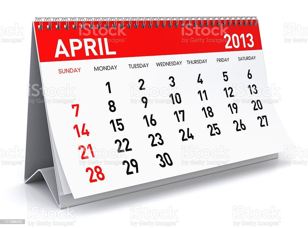 April 2013 - Calendar royalty-free stock photo