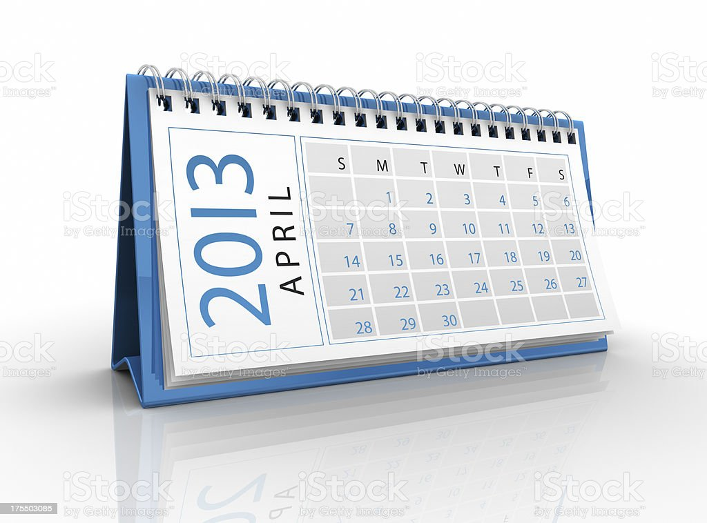 April 2013 calendar royalty-free stock photo