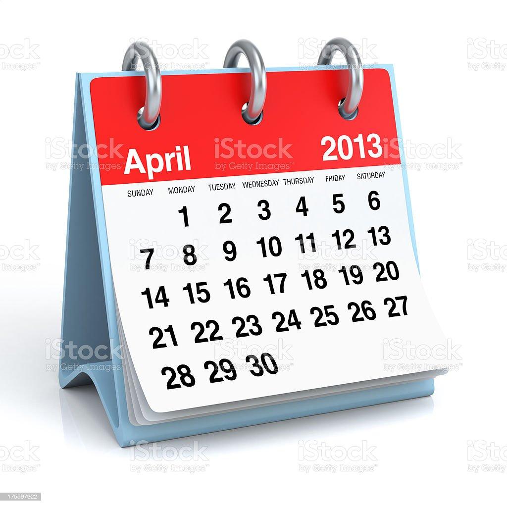 April 2013 - Calendar stock photo