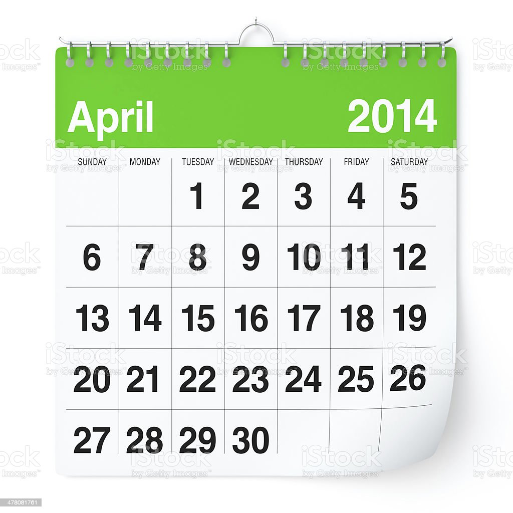 April 2014 - Calendar royalty-free stock photo