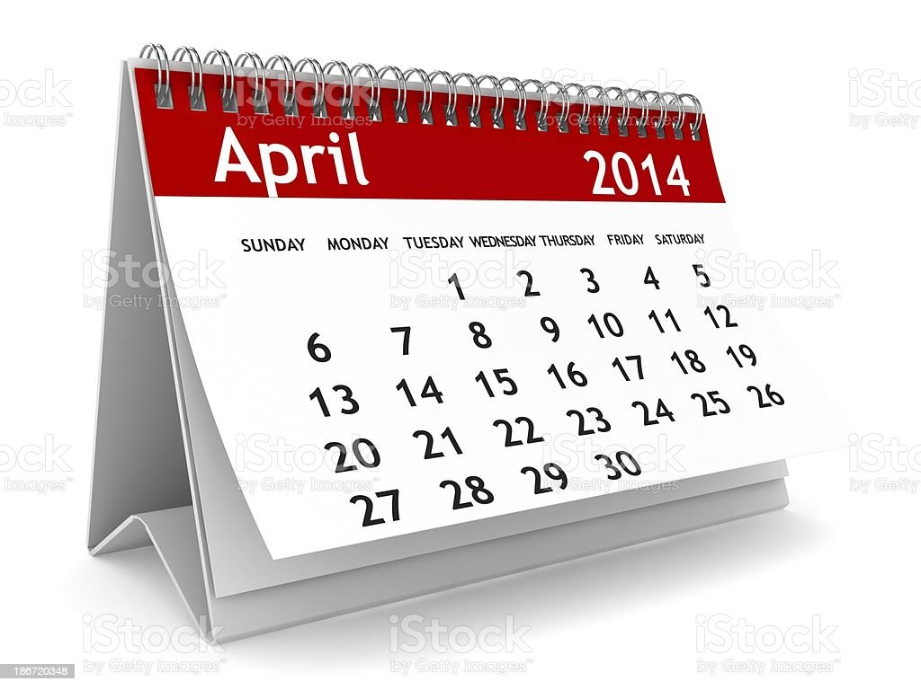 April 2014 - Calendar series royalty-free stock photo