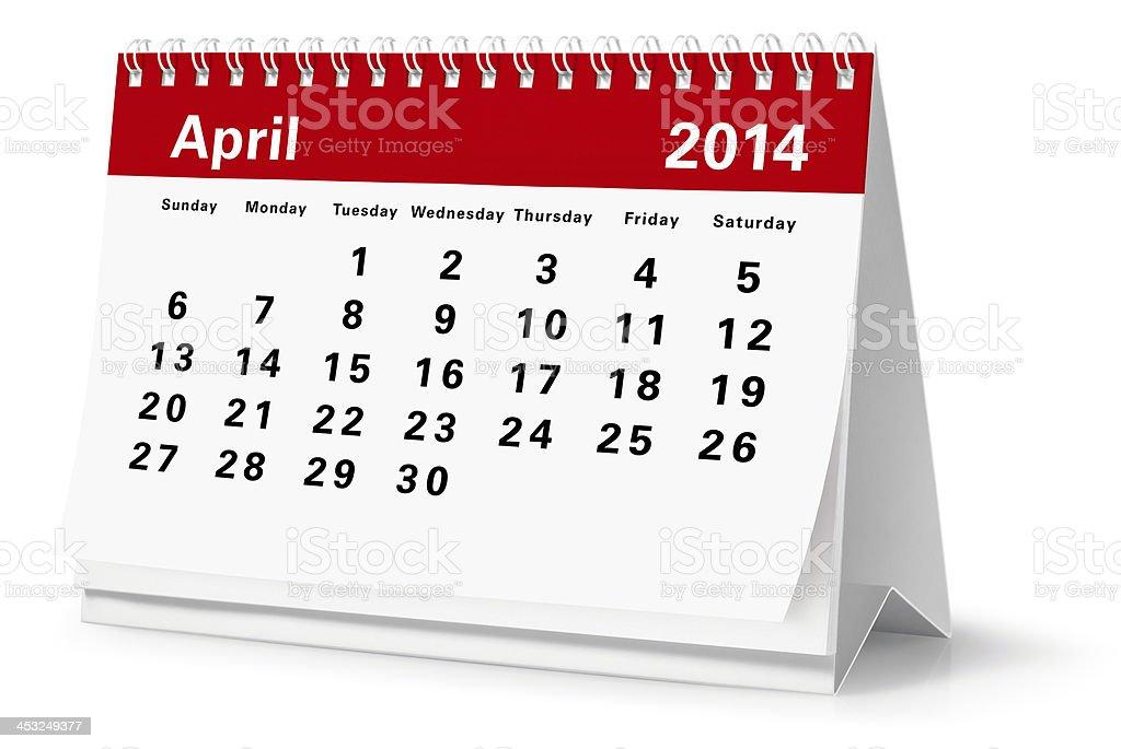 April - 2014 Desktop Calendar (Clipping Path) royalty-free stock photo