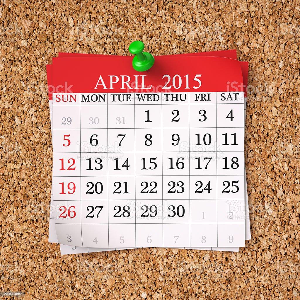 April 2015  Calendar stock photo