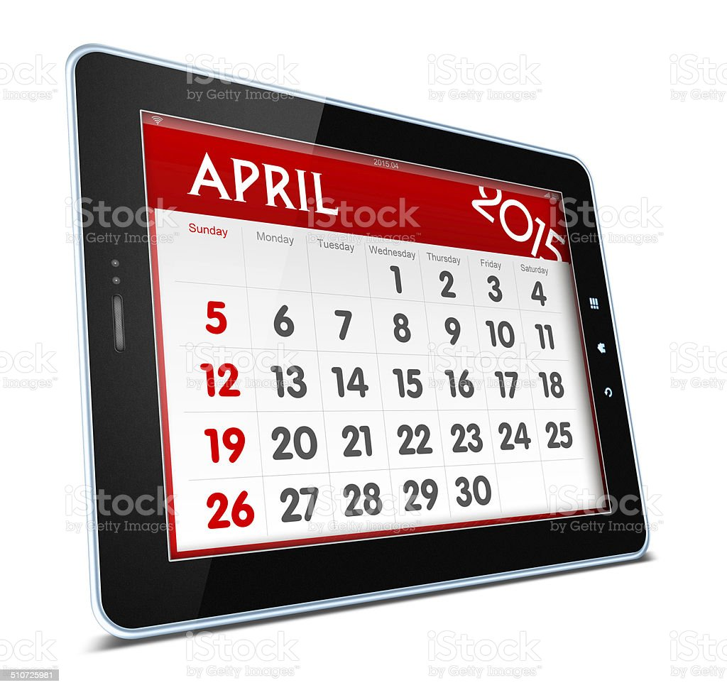 April 2015 Calender on digital tablet stock photo