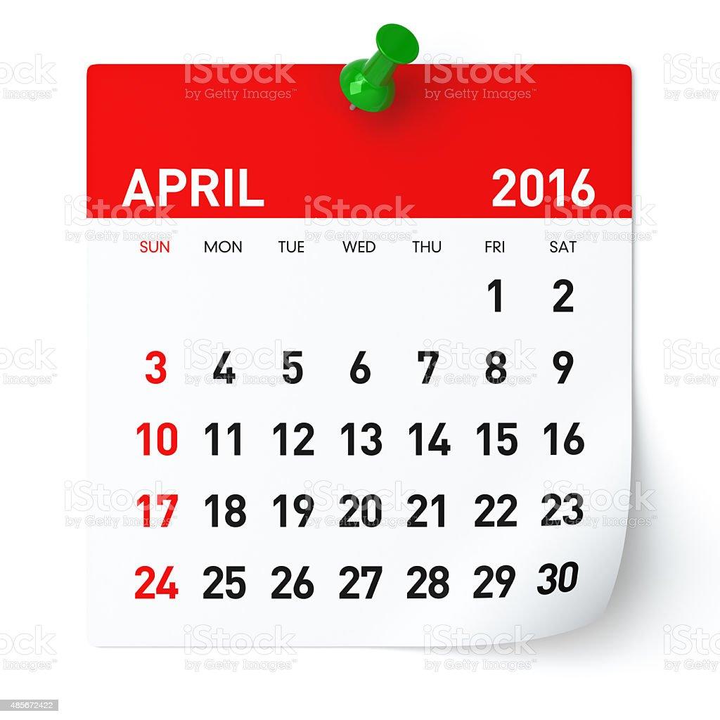 April 2016 - Calendar. stock photo