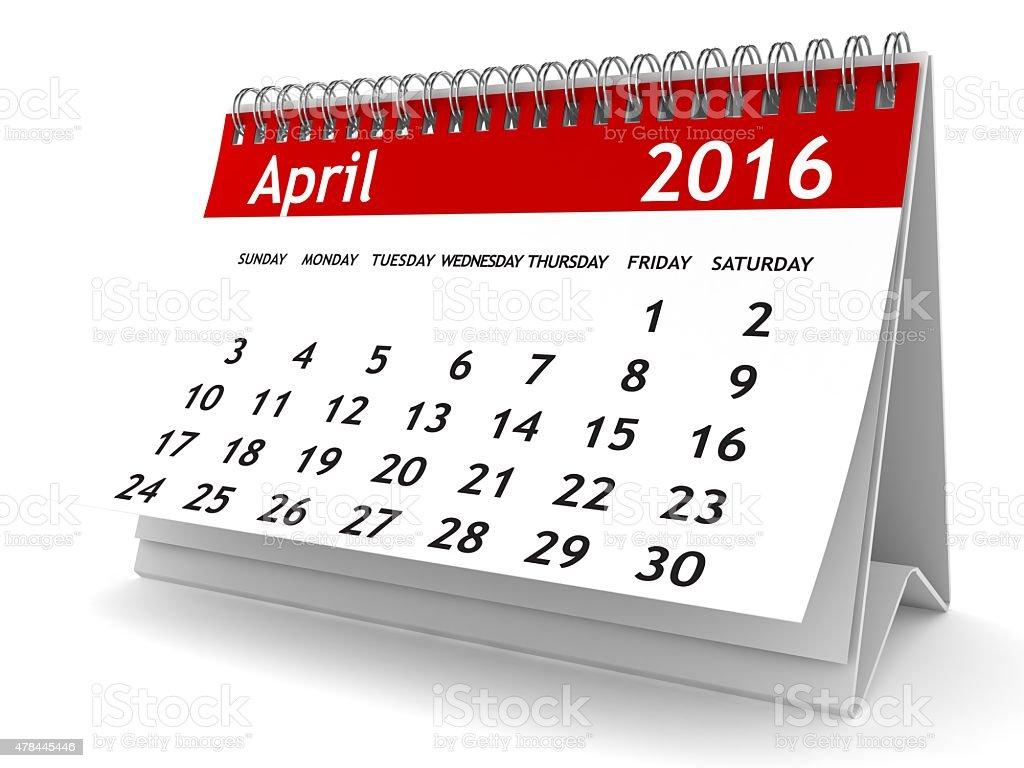 April 2016 - Calendar series stock photo