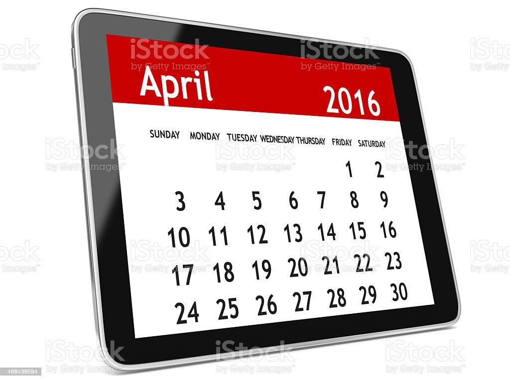 April 2016 calendar tablet stock photo