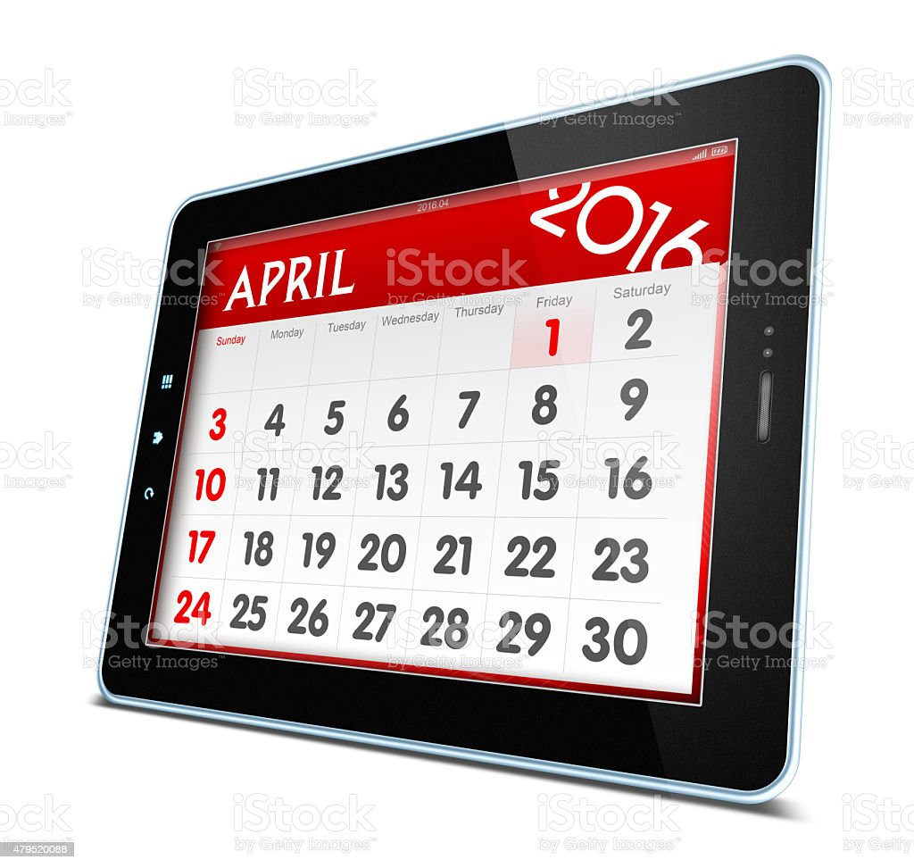 April 2016 Calender on digital tablet isolated stock photo