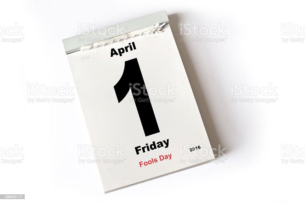 1. April 2016 Fools Day stock photo
