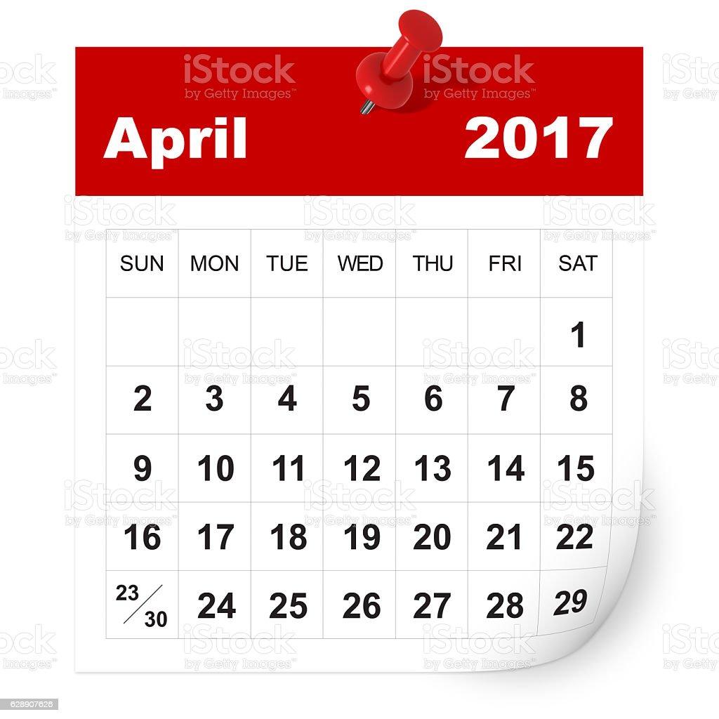 April 2017 calendar stock photo