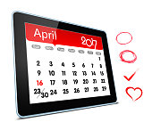 April 2017 Calender on digital tablet isolated