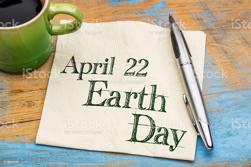April 22 Earth Day on napkin stock photo