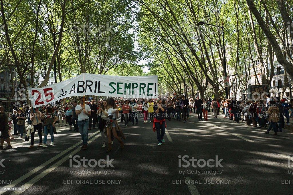 April 25th Celebrations in Lisbon stock photo