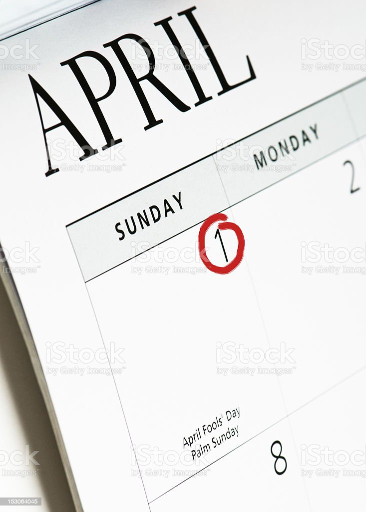 April Fools' Day Calendar Page stock photo