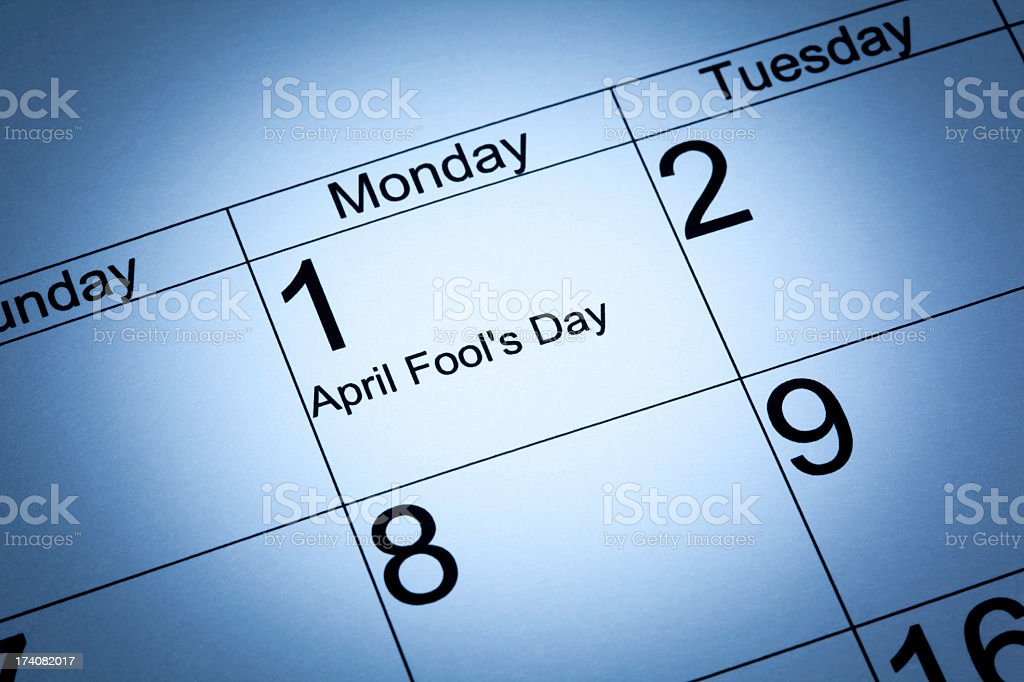 April Fool's day in the calendar stock photo
