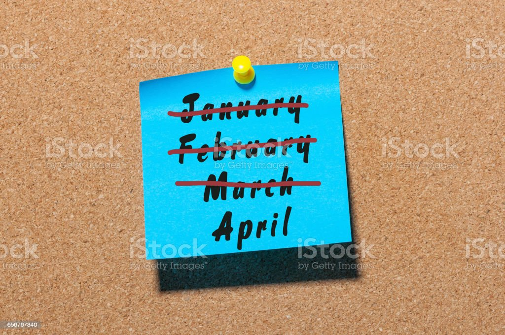 April Fool's Day. Second spring month calendar concept. Crossed out March, February and January stock photo