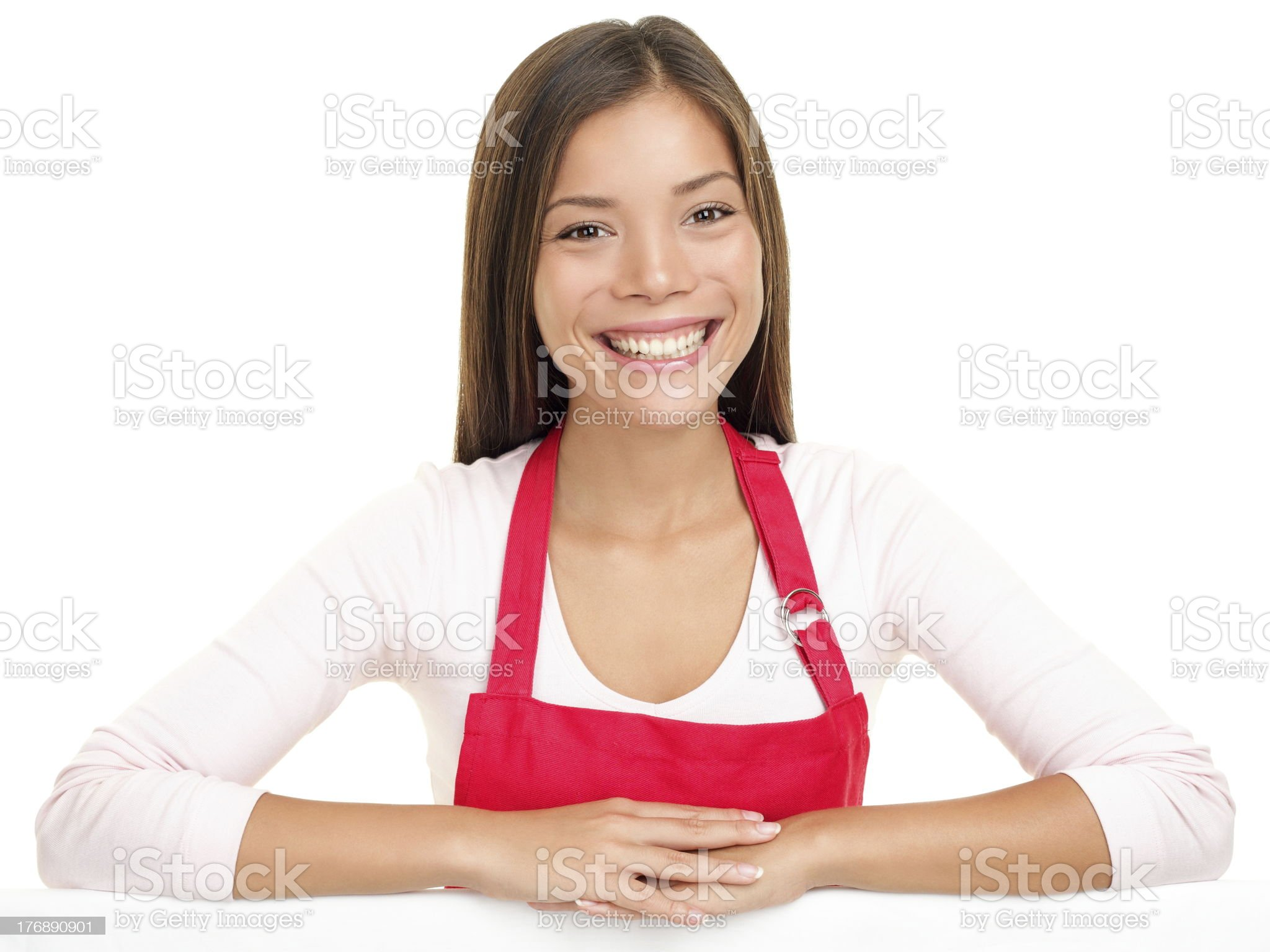 apron woman sales assistant clerk royalty-free stock photo