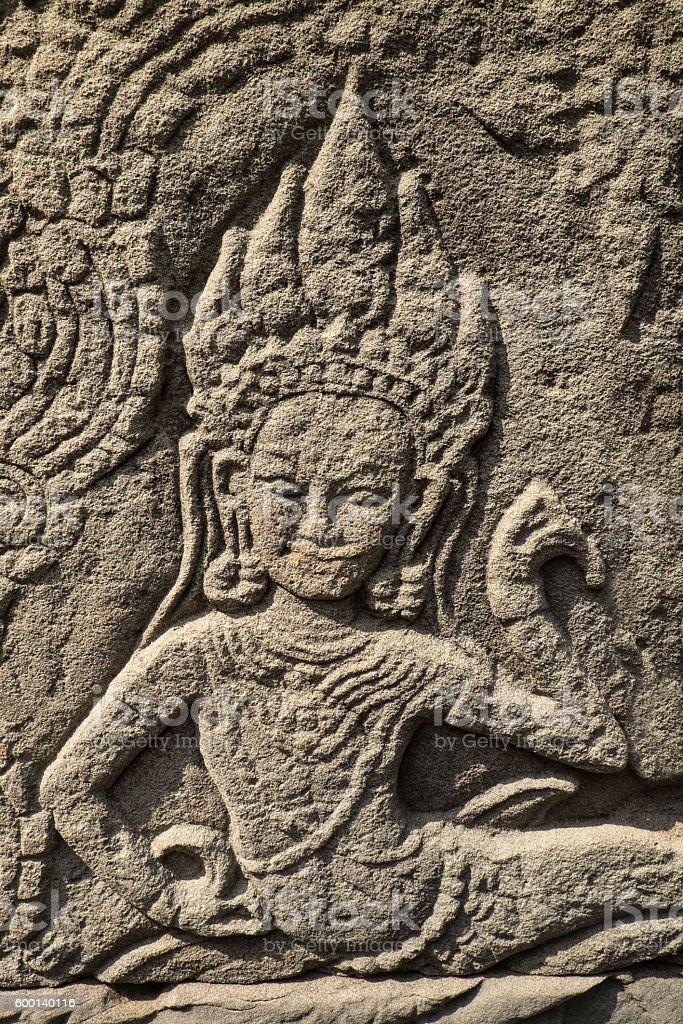 Apsara at Bayon Temple, Angkor Thom stock photo