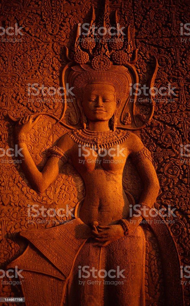 apsara bas-relief at Angkor royalty-free stock photo