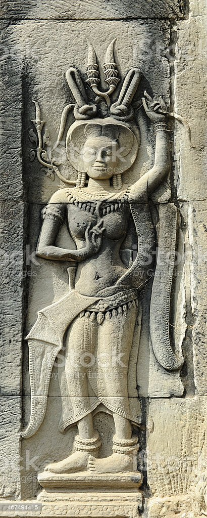 Apsara Bas-relief at Angkor Wat Temple Cambodia royalty-free stock photo