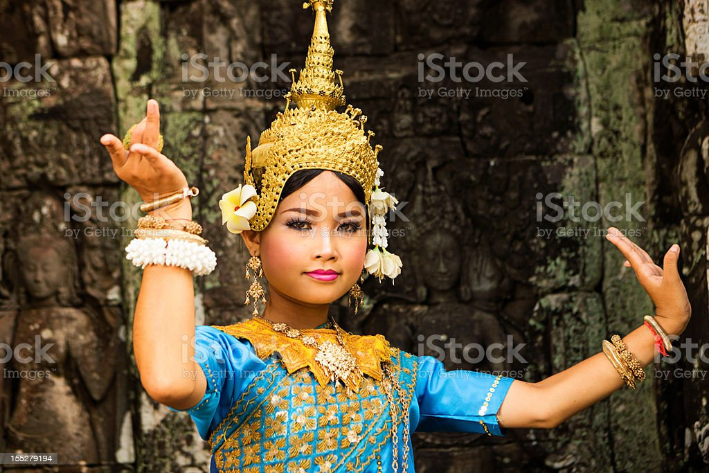 Apsara Dancer at Angkor Wat royalty-free stock photo