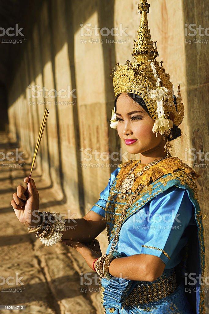 Apsara Dancer at Angkor Wat royalty-free stock photo
