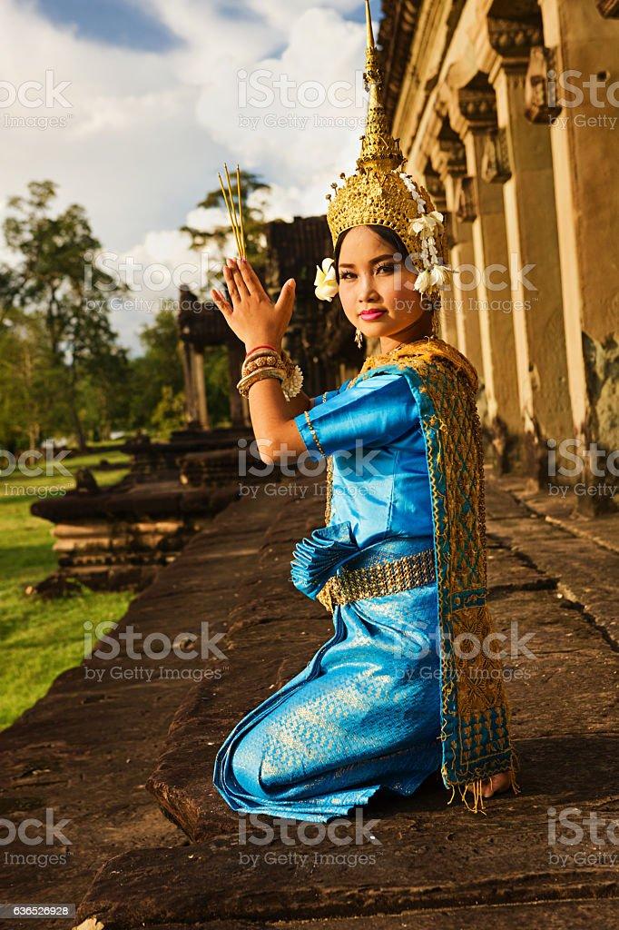 Apsara Dancer at Angkor Wat stock photo