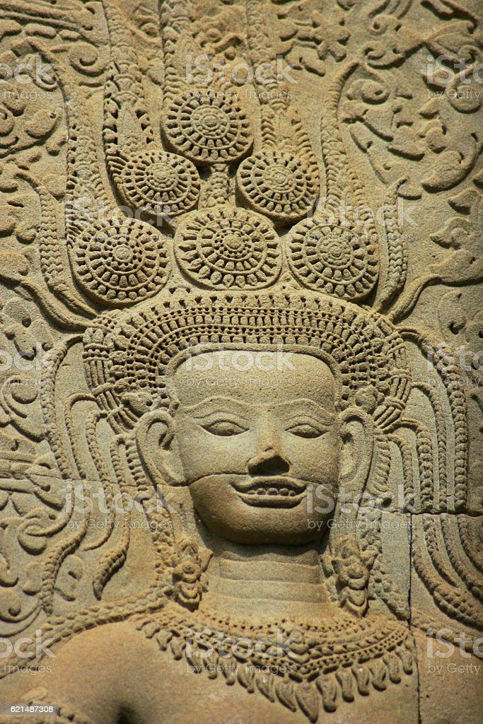 Apsara dancer in Angkor Wat stock photo