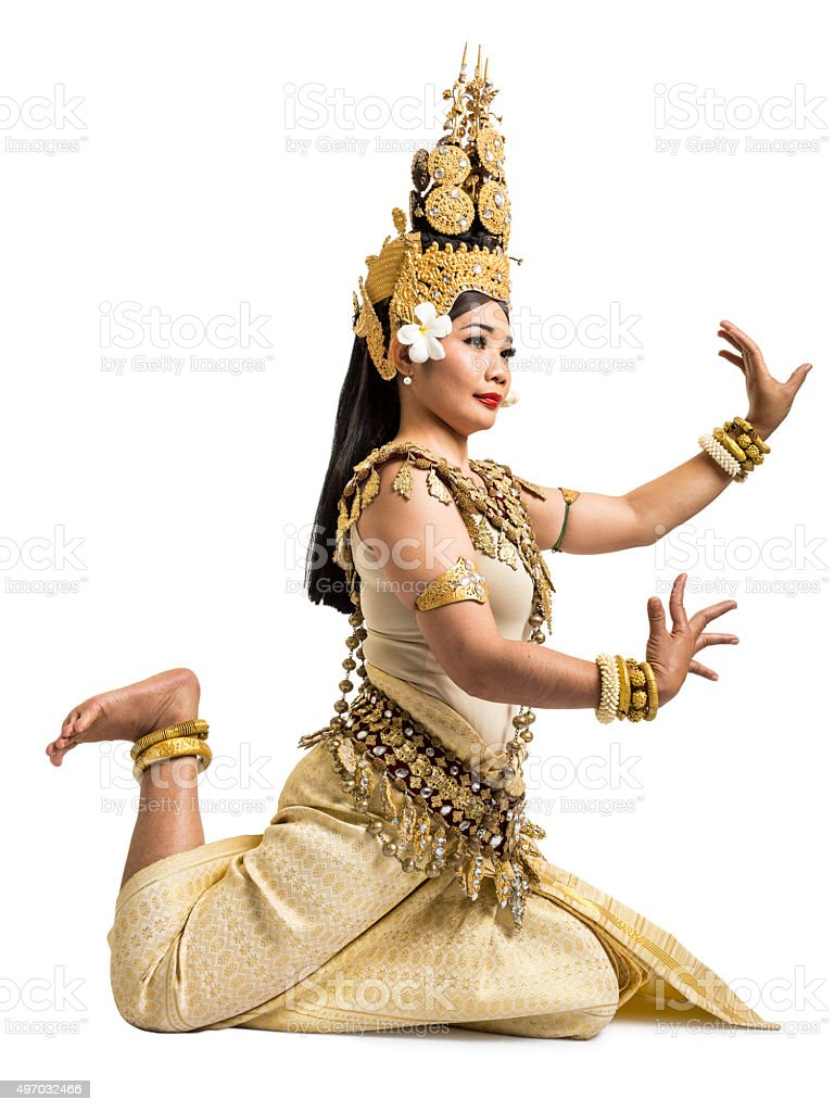 Apsara dancer of Angkor Wat isolated on white background stock photo