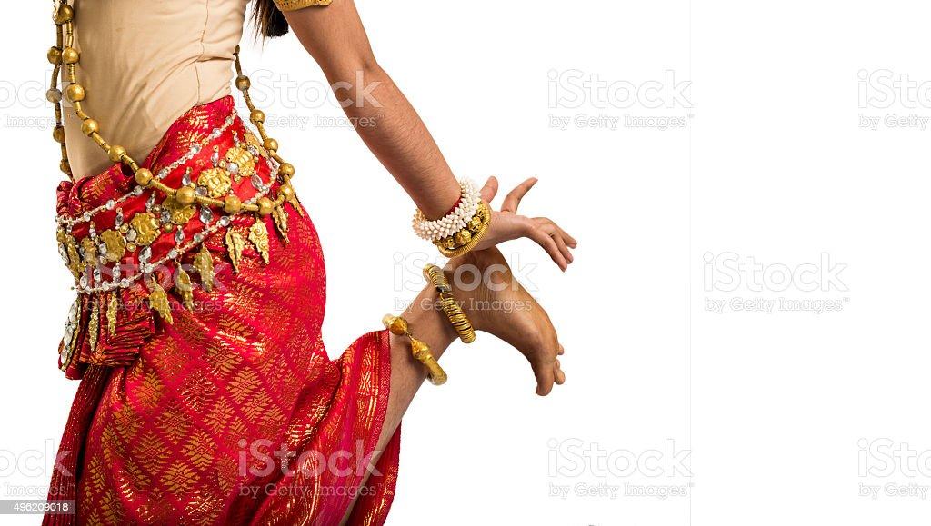 Apsara dancer of Cambodia isolated on white background stock photo