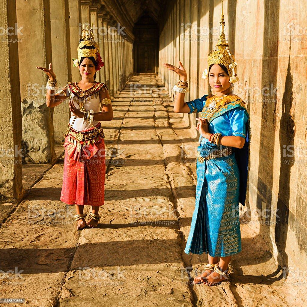 Apsara Dancers at Angkor Wat during sunset, Cambodia stock photo