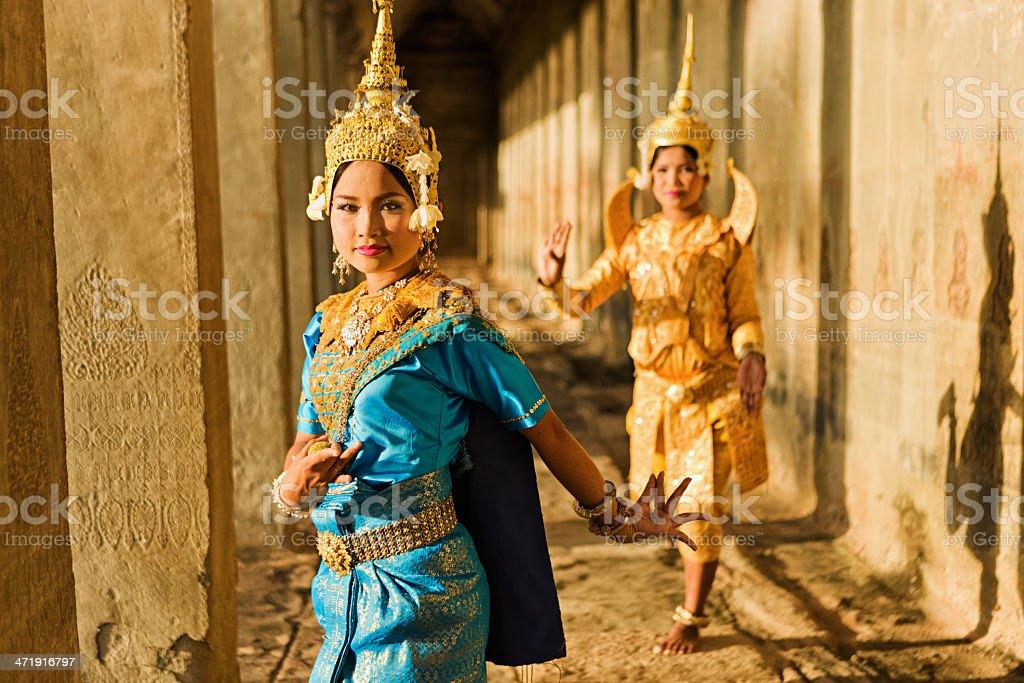 Apsara Dancers at Angkor Wat royalty-free stock photo