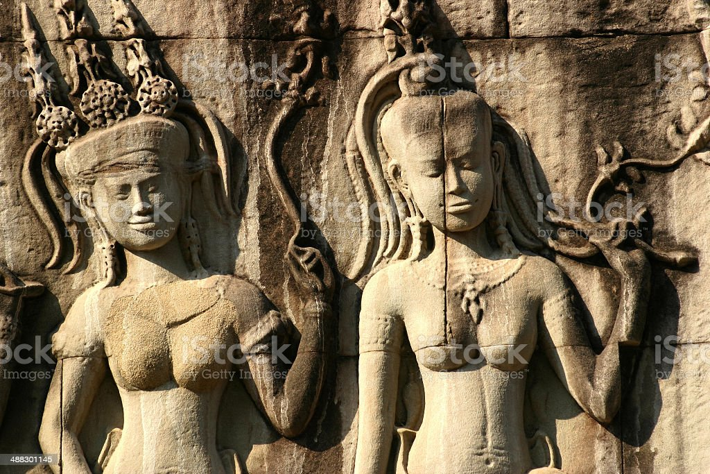 Apsara Dancers at Angkor Wat royalty-free stock photo
