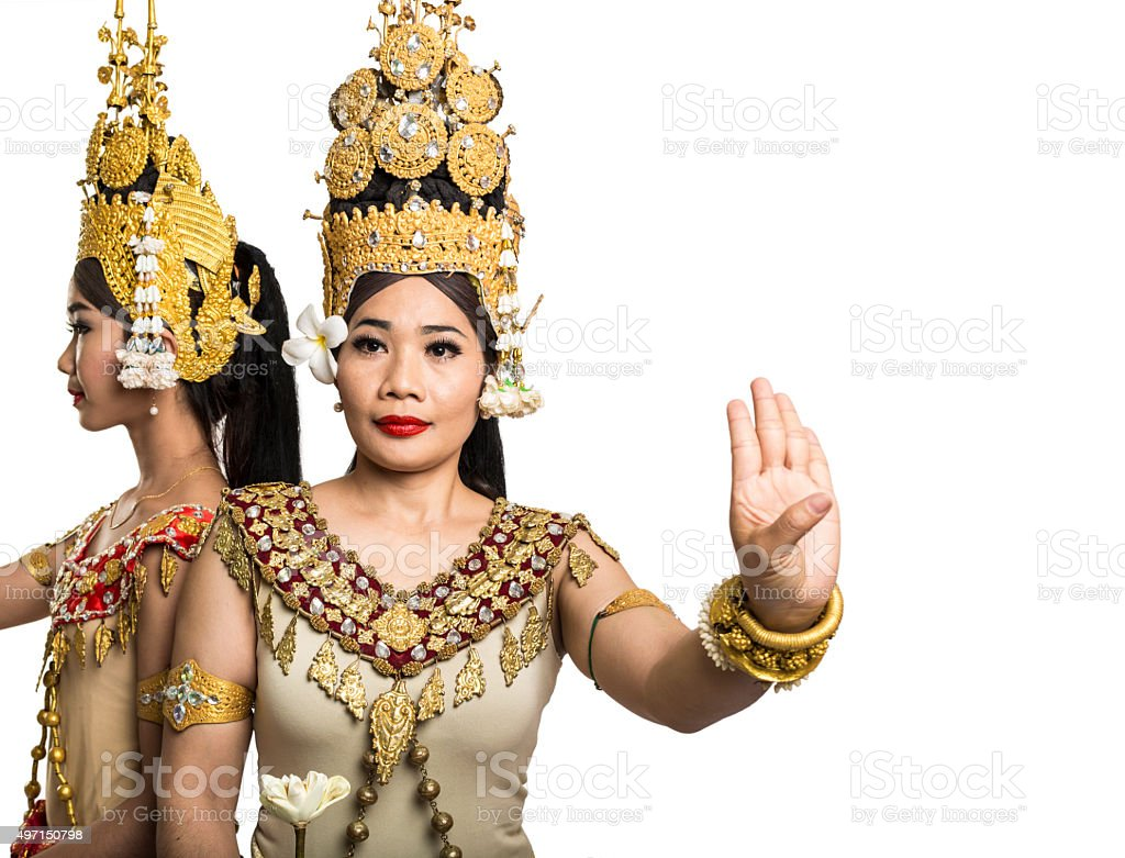 Apsara dancers of Angkor Wat isolated on white stock photo