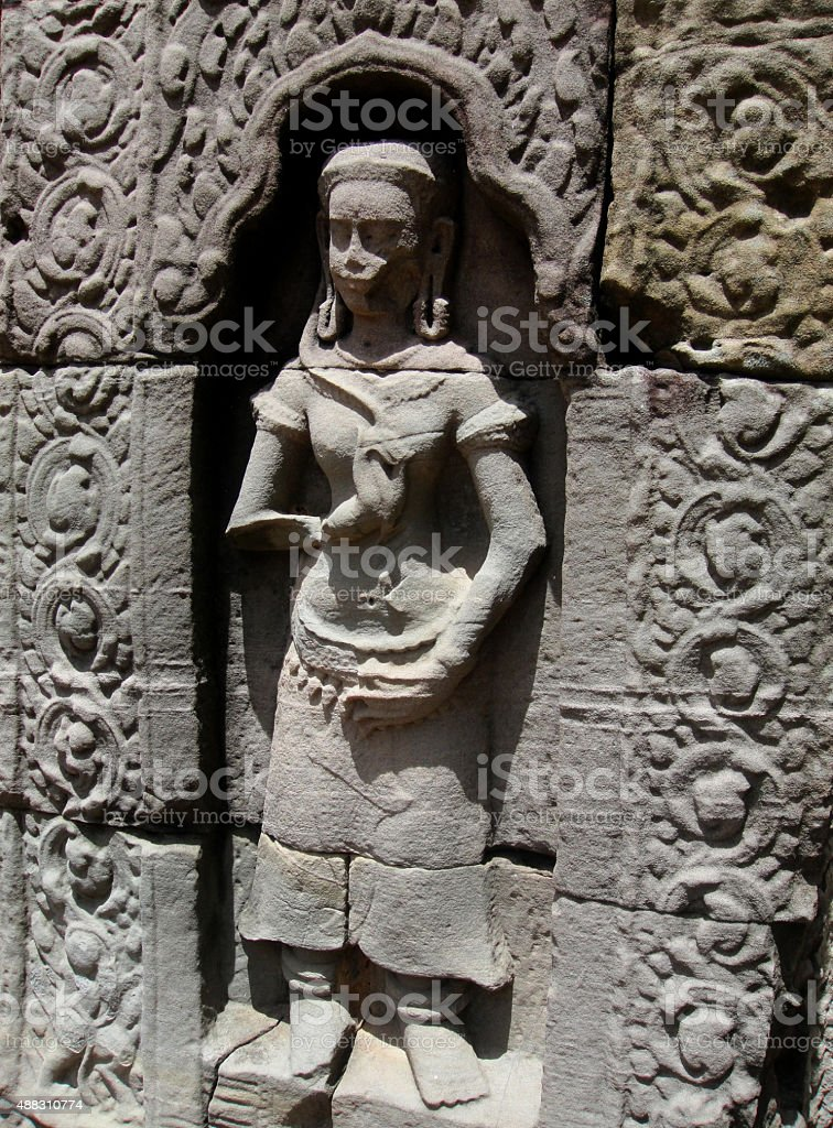 Apsara from Bas-Relief at Ta Som Temple stock photo