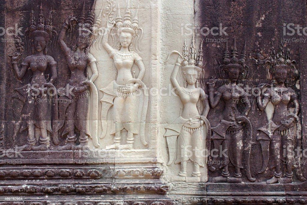 apsara moral relief - temple of angkor wat stock photo
