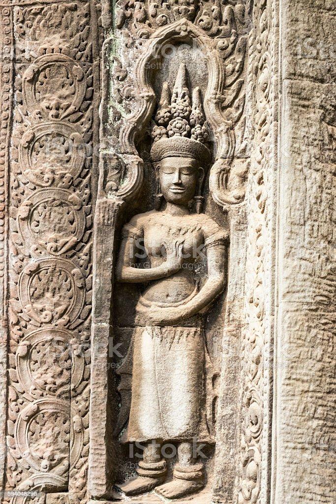 Apsara sculpture at Angkor stock photo