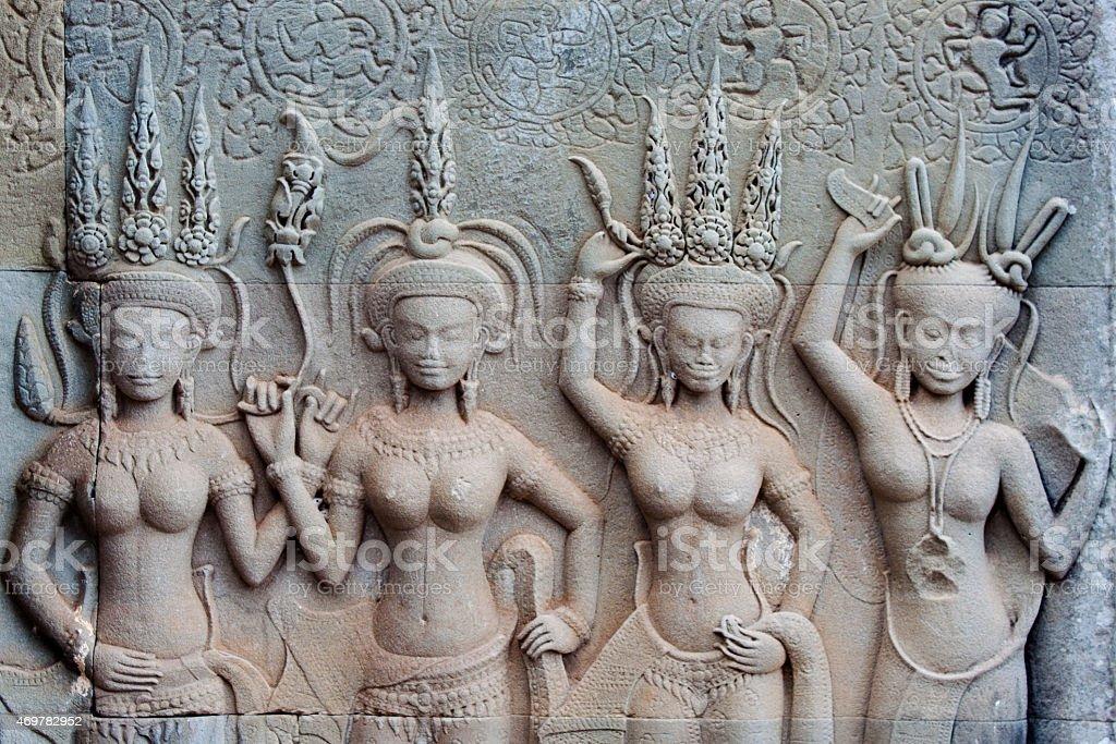 apsara - temple of angkor wat stock photo