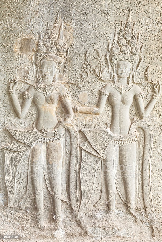 Apsaras - stone carving royalty-free stock photo
