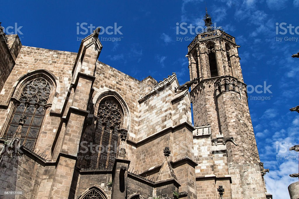 Apse and Belfry of the Barcelona Cathedral stock photo