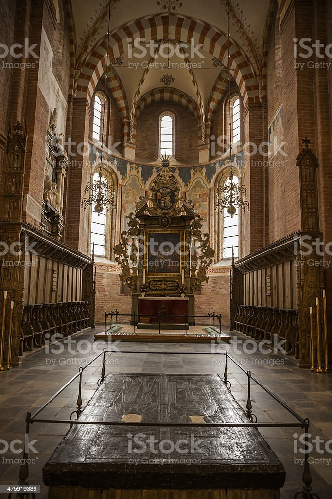 Apse, high altar and chancel of Sanct Bendts church, Ringsted stock photo