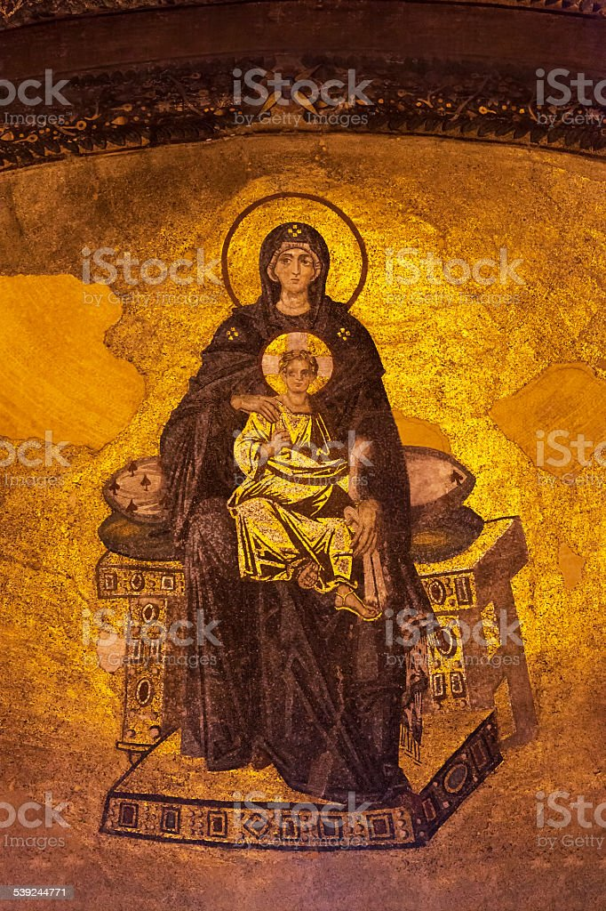 Apse mosaic of the Virgin Mother and Child stock photo
