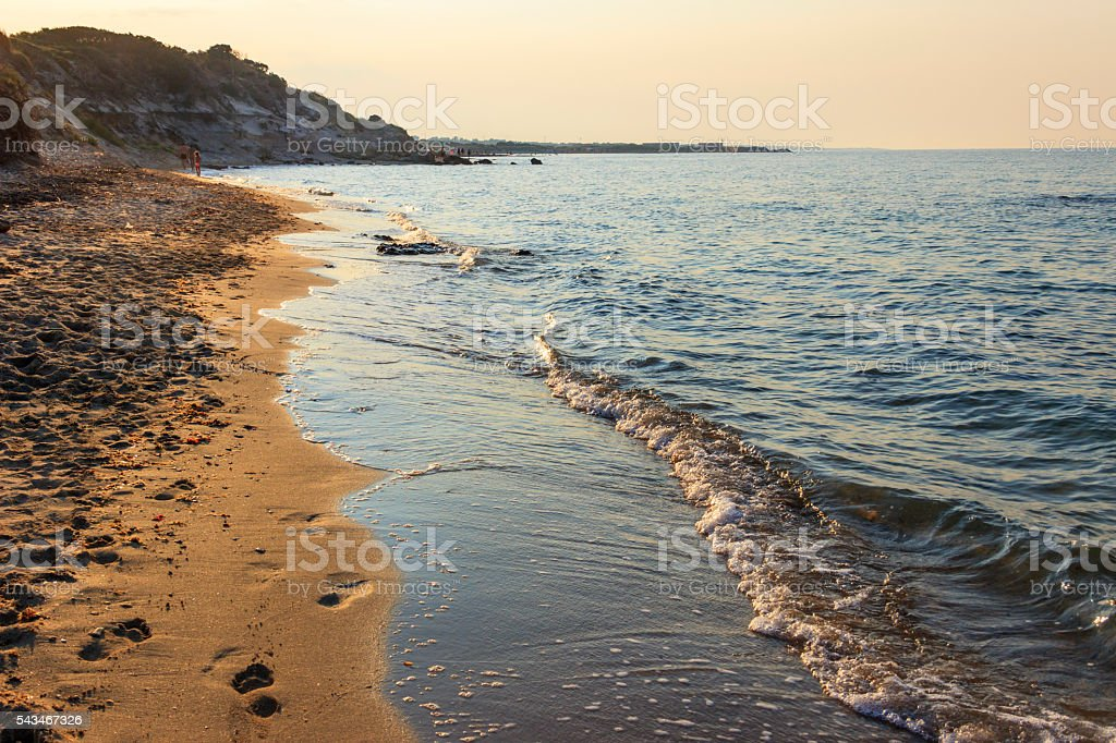 Apulia seascape: the nature reserve of Torre Guaceto, Brindisi, Italy. stock photo